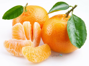 Tangerine with segments on a white background